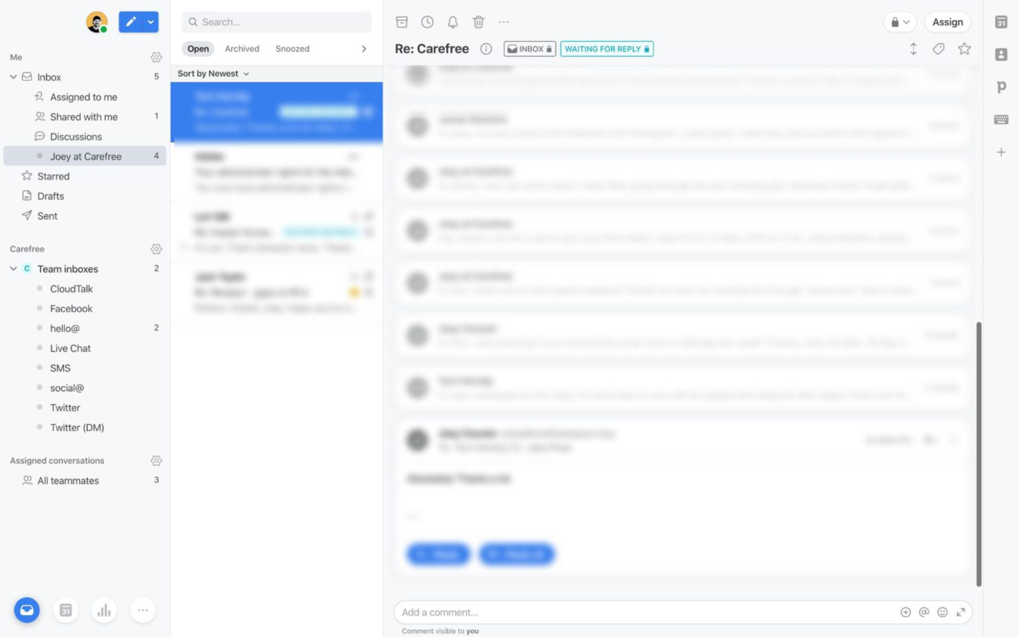 Screenshot of an email inbox in the Front app