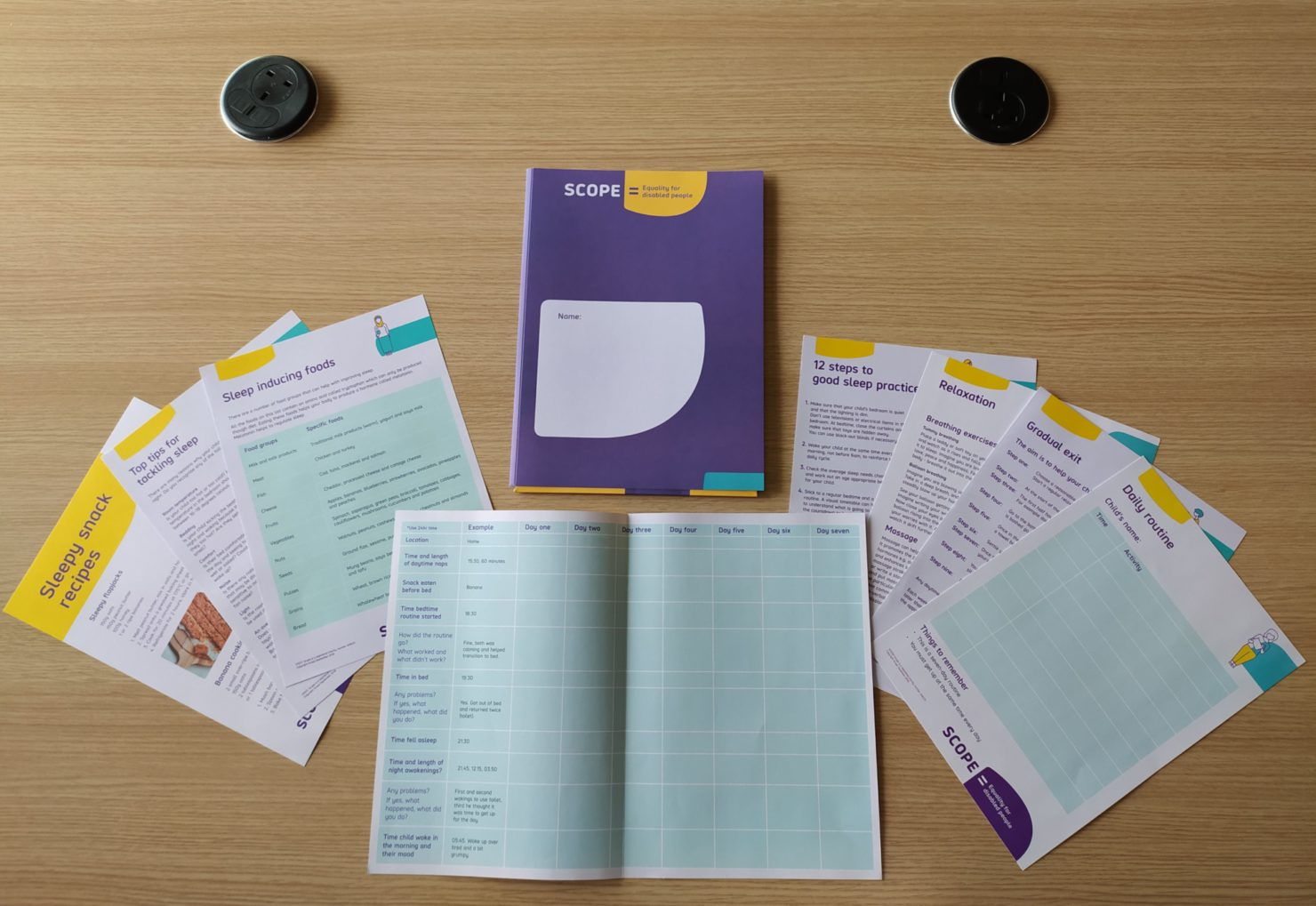 A photograph of some of Scope's physical printed resources documents