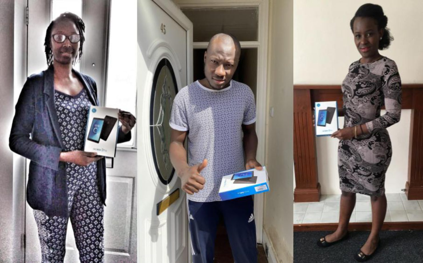3 photos of people holding new tablets from Devices Dot Now
