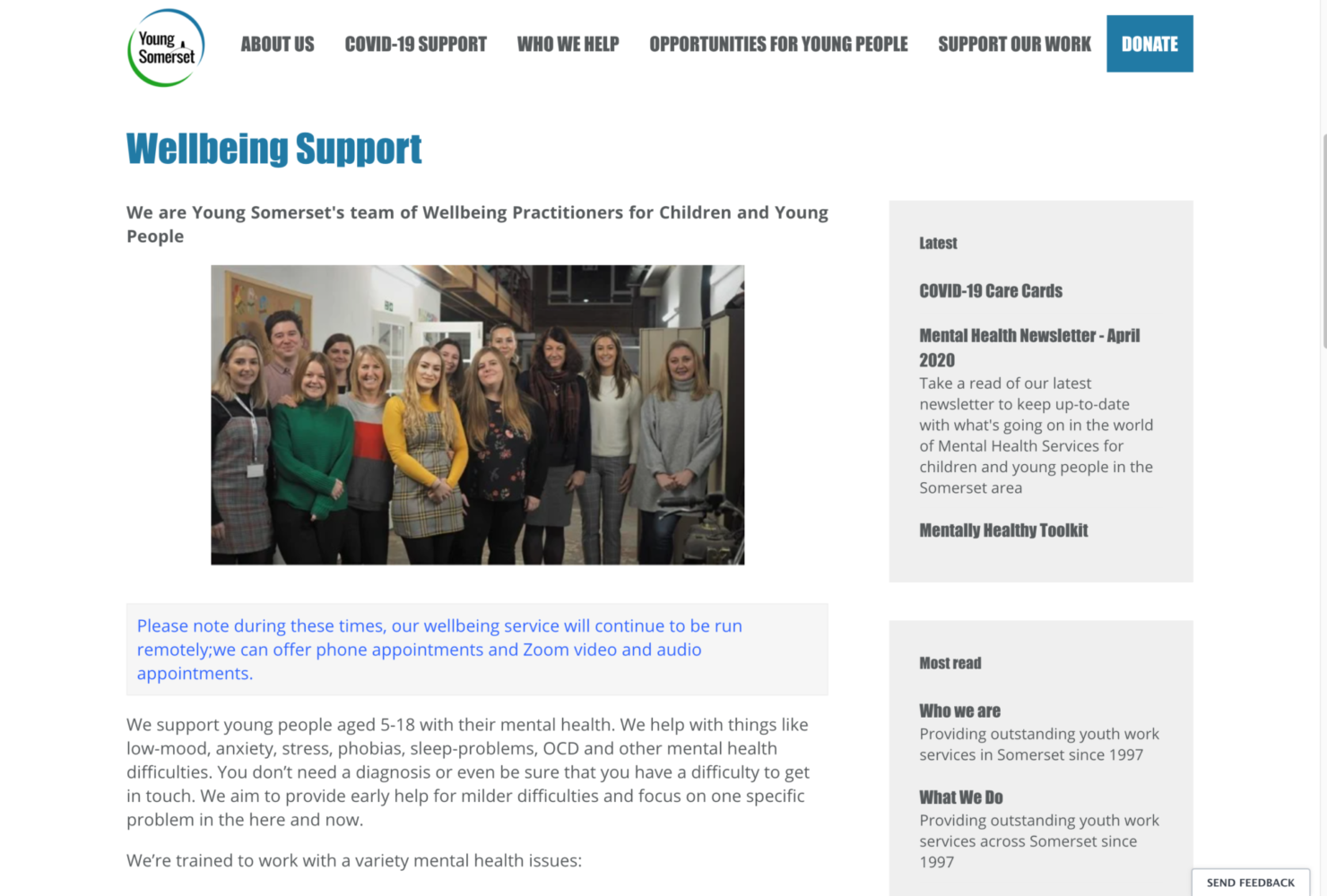 A preview of the wellbeing support page on the Young Somerset website