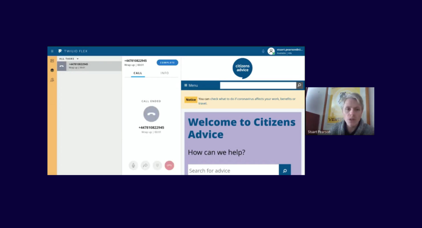 A screenshot of the Citizen's Advice Twilio chat service in action