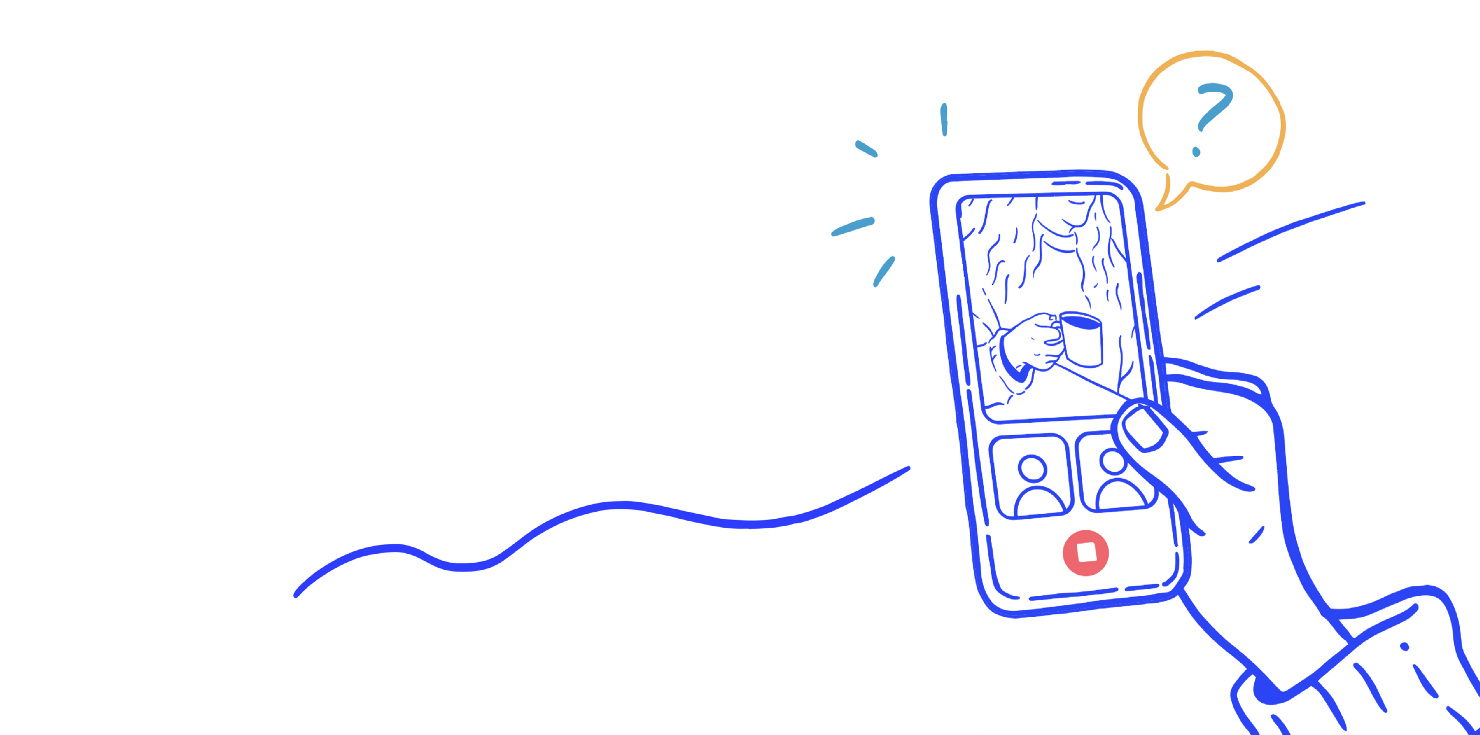 An illustration showing a group session happening on a phone