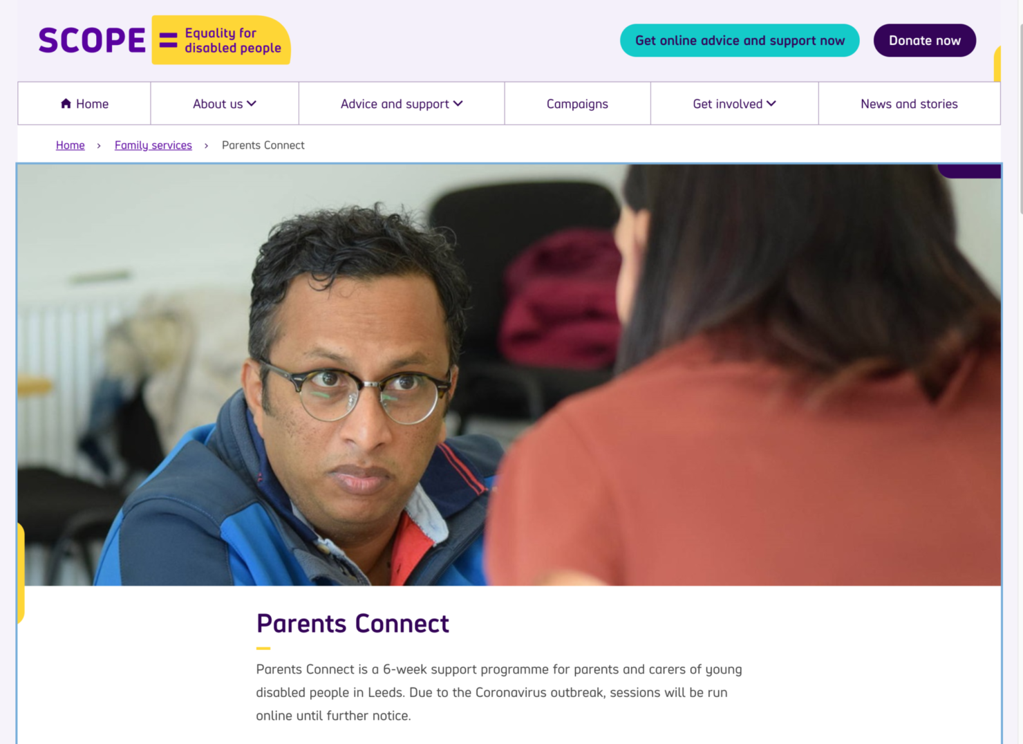 A screenshot showing the Parents Connect page on the Scope website