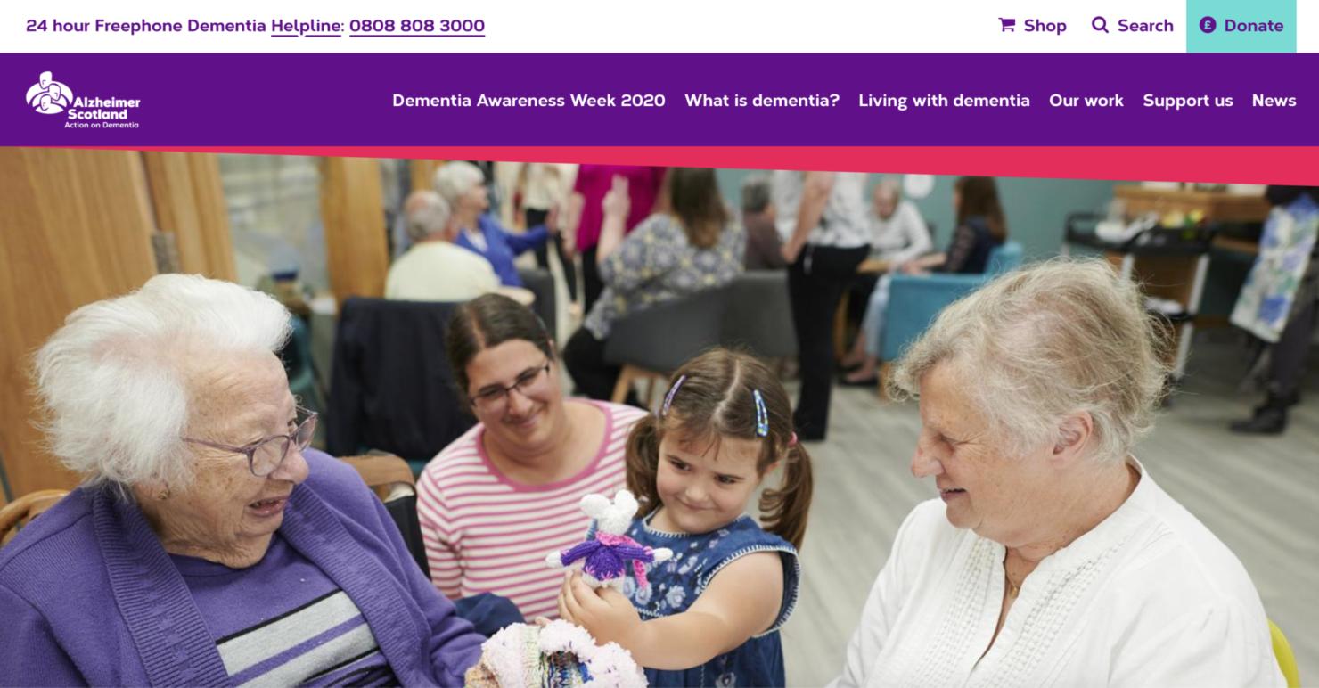 Screenshot of Alzheimer's Scotland Website